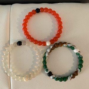 3 Lokai bracelets (Original, Red and Multicolor)